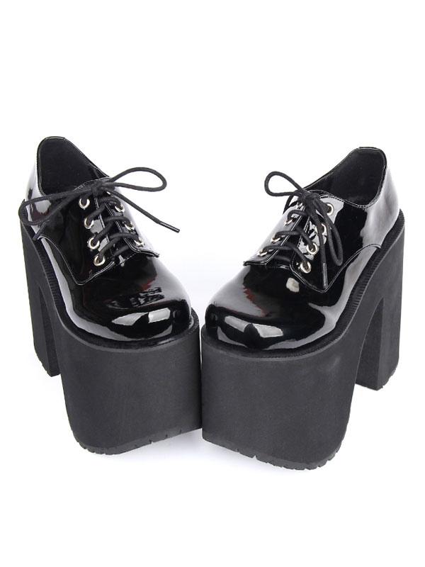 Black Lolita Boots Chunky Heel Platform Lace Up Lolita Footwear