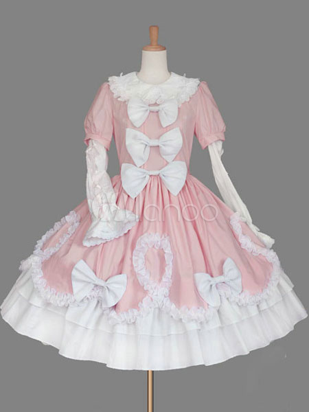 Buy Sweet Lolita Dress Pink Lolita Dress OP Cotton Bell Long Sleeve Pleated Bow Lolita One Piece Dress for $91.19 in Milanoo store