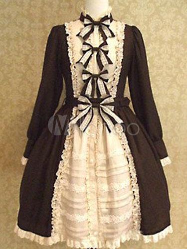 Buy Sweet Lolita Dress Black Lolita Dress OP Cotton Long Sleeve Bow Ruffle Hem Lolita One Piece Dress for $91.19 in Milanoo store