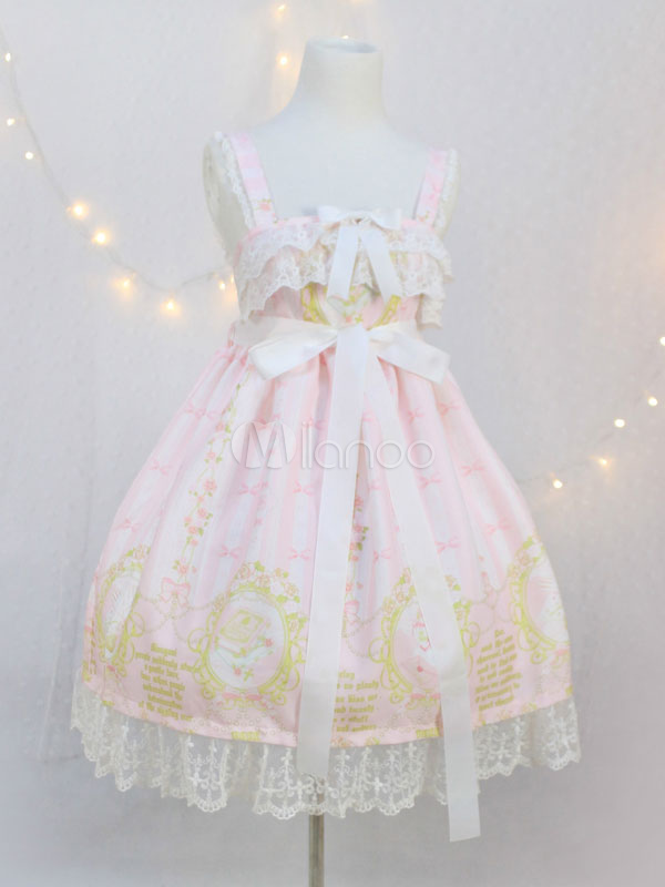 Sweet Lolita Dress JSK Pink Lolita Dress Chiffon Sleeveless Printed Bow Ruffle Hem Lolita Jumper Skirt