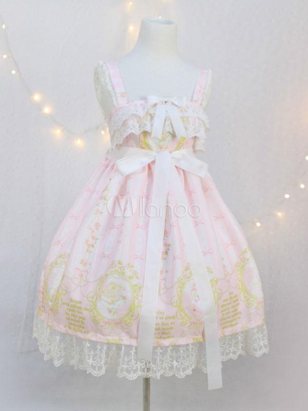 Buy Sweet Lolita Dress JSK Pink Lolita Dress Chiffon Sleeveless Printed Bow Ruffle Hem Lolita Jumper Skirt for $48.70 in Milanoo store