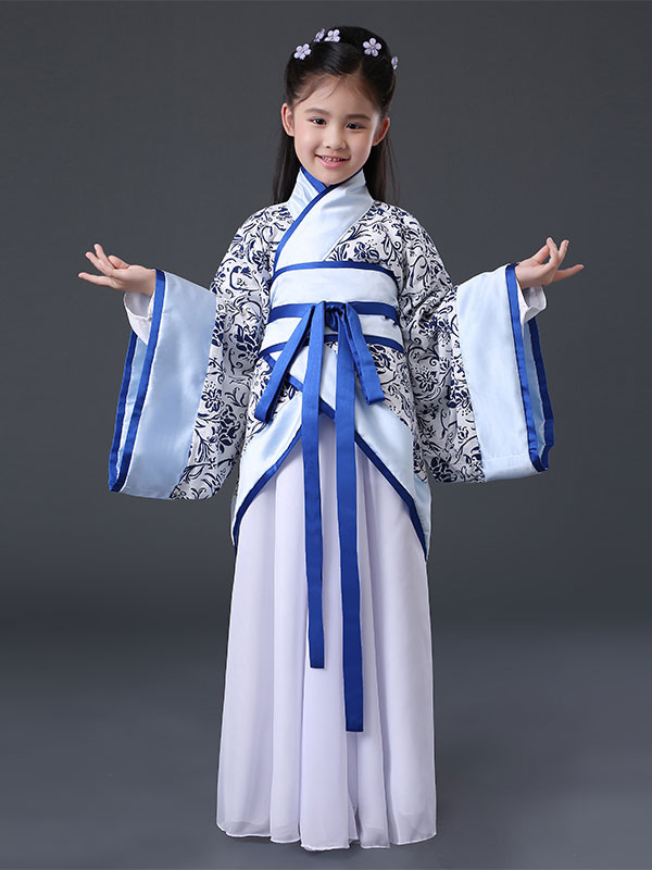 Halloween Chinese Costume Girls Blue Ancient Hanfu Costume Halloween