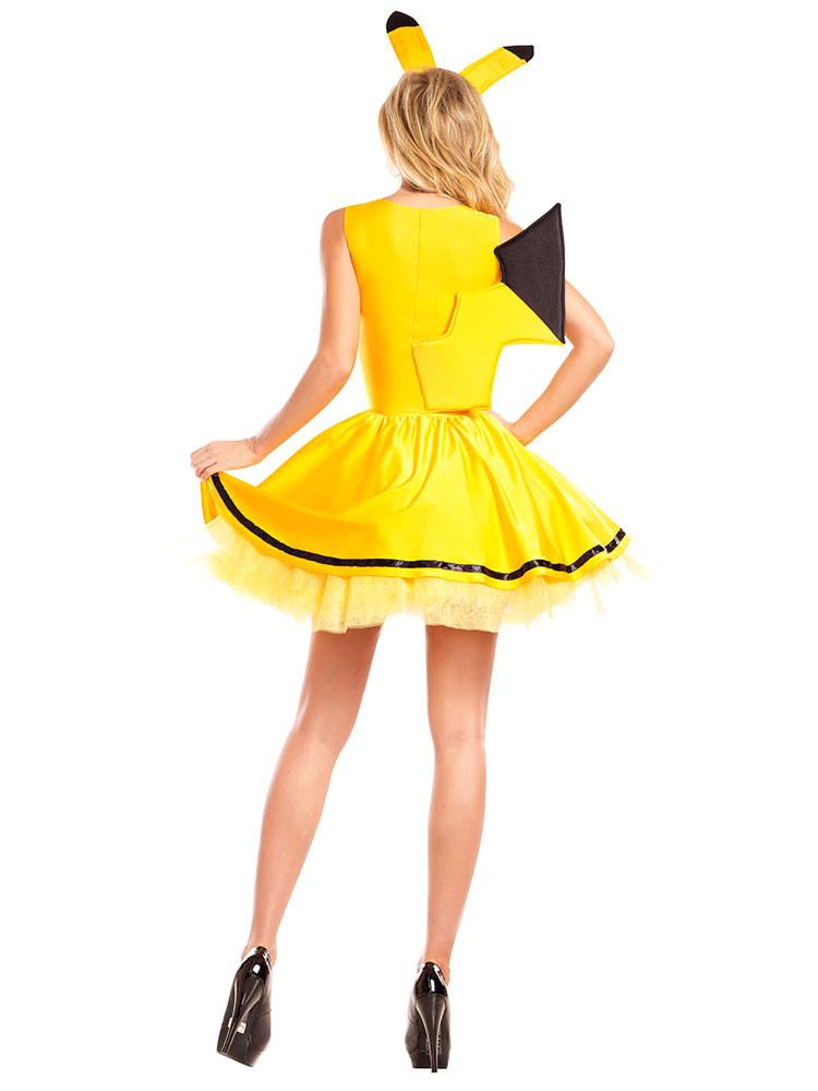 80babedf4805 ... Costume Cosplay di Film 2019 Sexy Pikachu Costume Halloween Pokemon  Outfit Vestito giallo da donna con