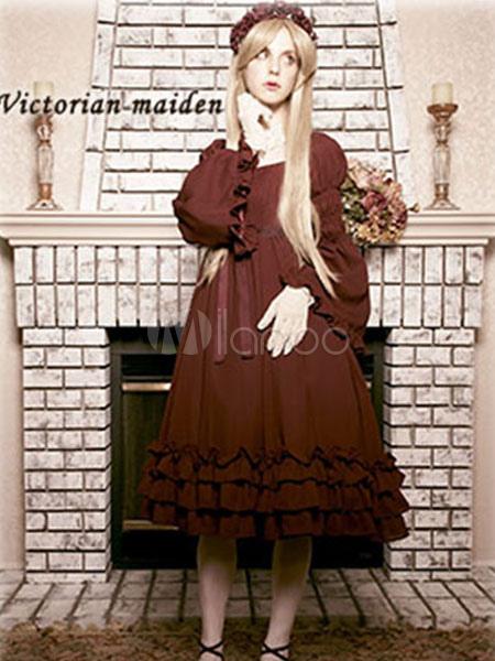 Buy Classic Lolita Dress OP Burgundy Lolita Dress Bell Long Sleeve Tiered Ruffle Hem Chiffon Lolita One Piece Dress for $75.99 in Milanoo store