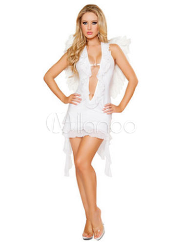 Buy Halloween Sexy Angel Costume Plunging Neckline Outfit Women's White Dress With Wings Halloween for $23.99 in Milanoo store