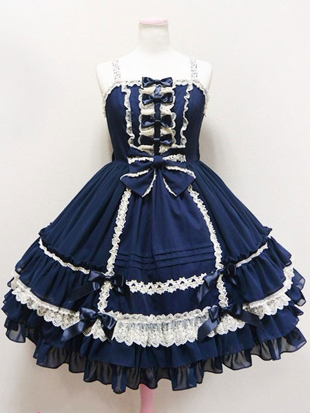 Sweet Lolita Dress Jsk Deep Blue Lolita Dress Cotton