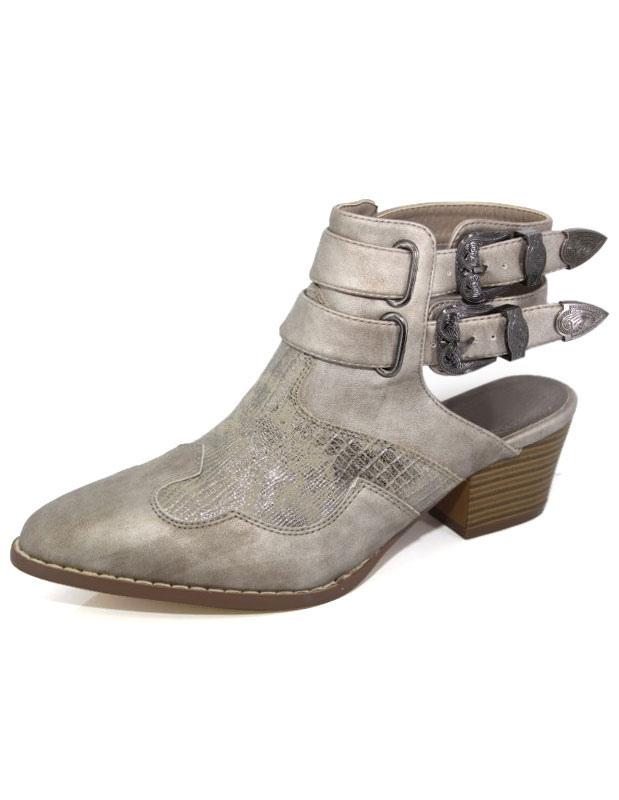 Basso Stivaletto Tacco Cowgirl Open Vintage Sandalo Scarpe Ankel WQBreCxod