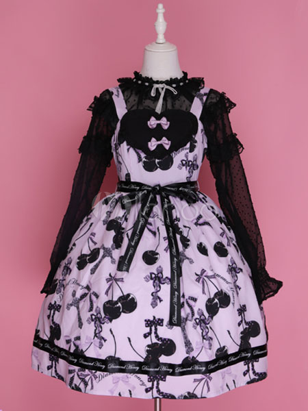 Buy Sweet Lolita Dress JSK Pink Lolita Dress Cotton Printed Bow Lolita Jumper Skirt for $110.19 in Milanoo store