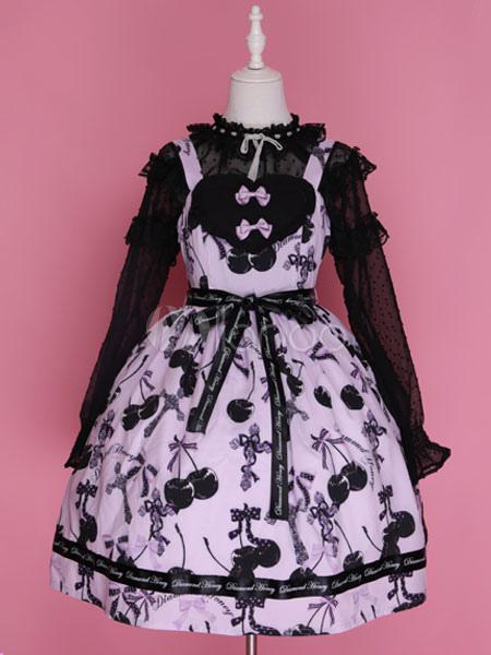 Sweet Lolita Dress JSK Pink Lolita Dress Cotton Printed Bow Lolita Jumper Skirt