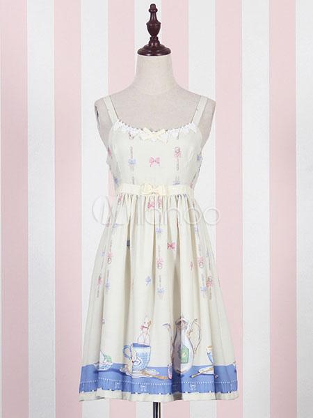 52f1e372a2 Sweet Lolita Dress JSK Yellow Lolita Dress Cotton Printed Pleated Lolita  Jumper Skirt-No.