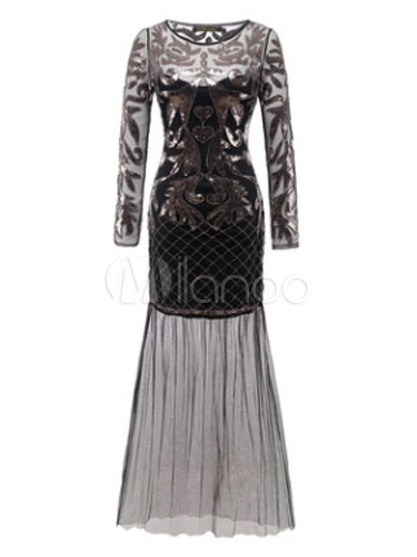 Black Fler Dress 1920s Vintage Costume Great Gatsby Women S Ilusion Long Sleeve Sequin Mermaid Maxi