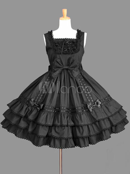 Buy Sweet Lolita Dress JSK Black Cotton Bow Lolita Jumper Skirt for $83.59 in Milanoo store