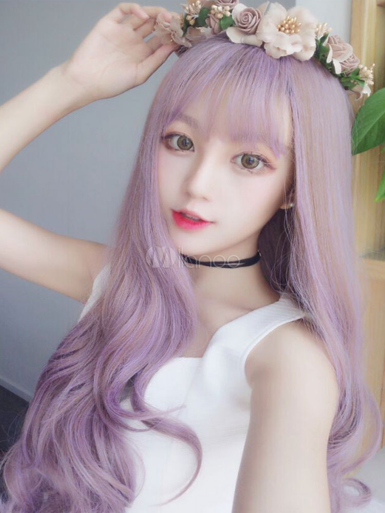 Sweet Lolita Wigs Long Purple Curly Synthetic Lolita Wig With Bang