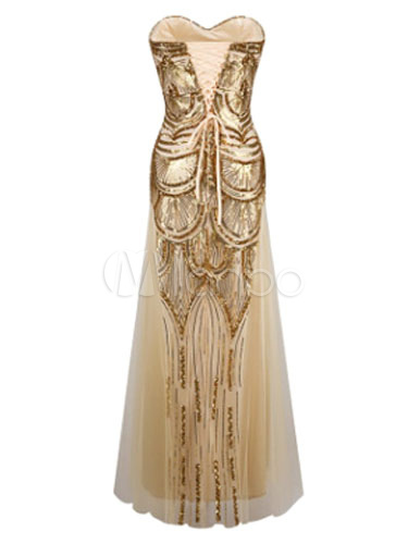 Great Gatsby Fler Dress 1920s Vintage Costume Women S Sequined Gold Maxi No