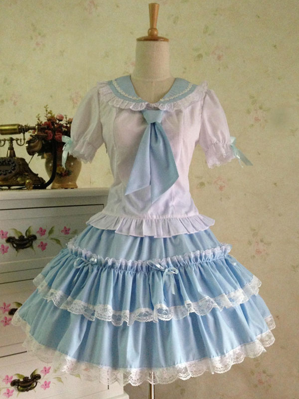 Buy Sweet Lolita Outfit Sailor 2 Piece Set Light Blue Cotton Skirt With Shirt for $60.99 in Milanoo store
