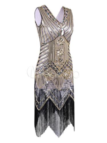 Robe charleston femme gatsby le magnifique 2018 flapper for Magasins de robe de mariage charleston sc