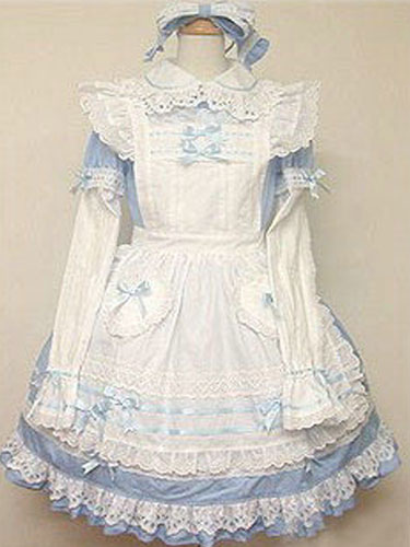 Buy Sweet Lolita Dress OP Light Blue Lolita Dress Cotton Tunic Ruffle Bow Lolita One Piece Dress for $95.99 in Milanoo store