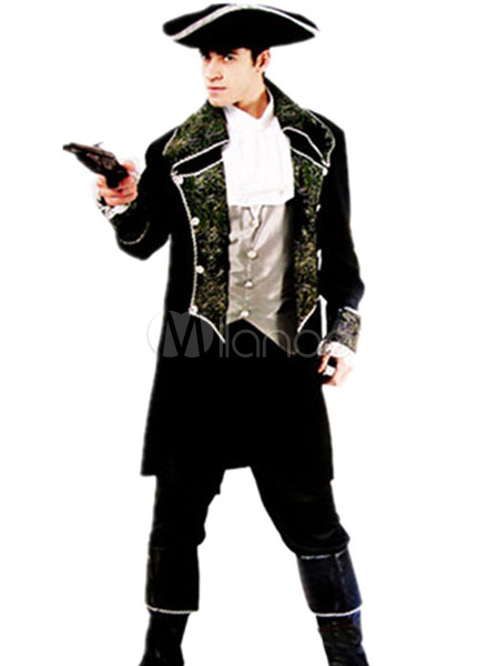 Halloween Pirate Costume Men's Black Silver Captain Costume Outfit Halloween