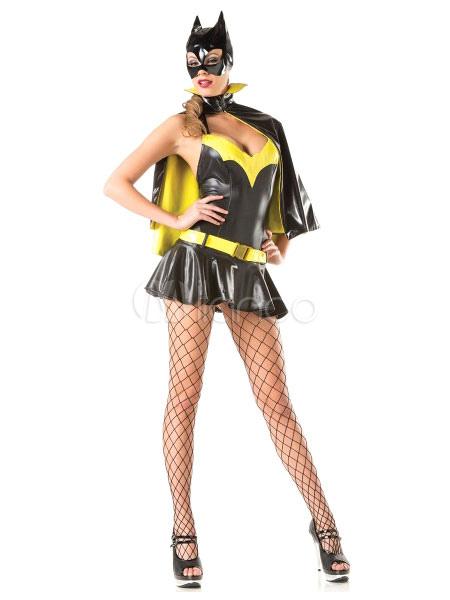 Buy Sexy Batman Costume Halloween Women's Yellow Black Mini Dress With Cape And Hood Halloween for $34.99 in Milanoo store
