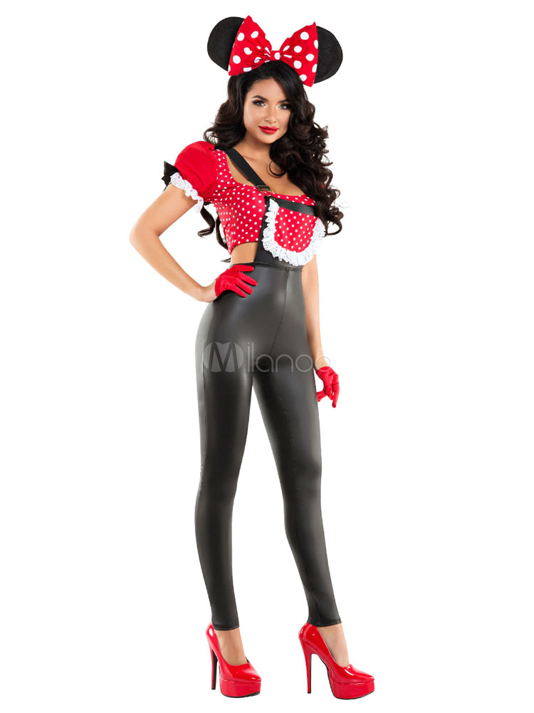 Sexy Mickey Mouse Costume Halloween Red Minnie Costume In 4 Piece