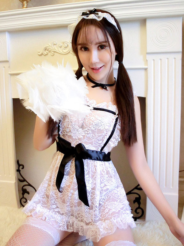787537ccfc5 ... White Lace Sexy Maid Costume Sheer Cute Maid Costume For Women Halloween-No.4  ...