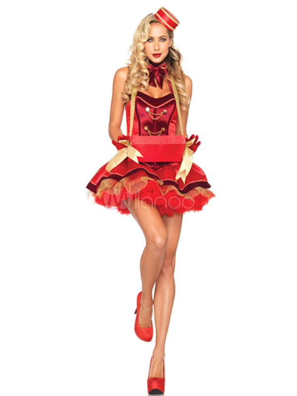 Buy Carnival Clown Costume Circus Red Halloween Costume Outfit In 3 Piece Halloween for $31.99 in Milanoo store