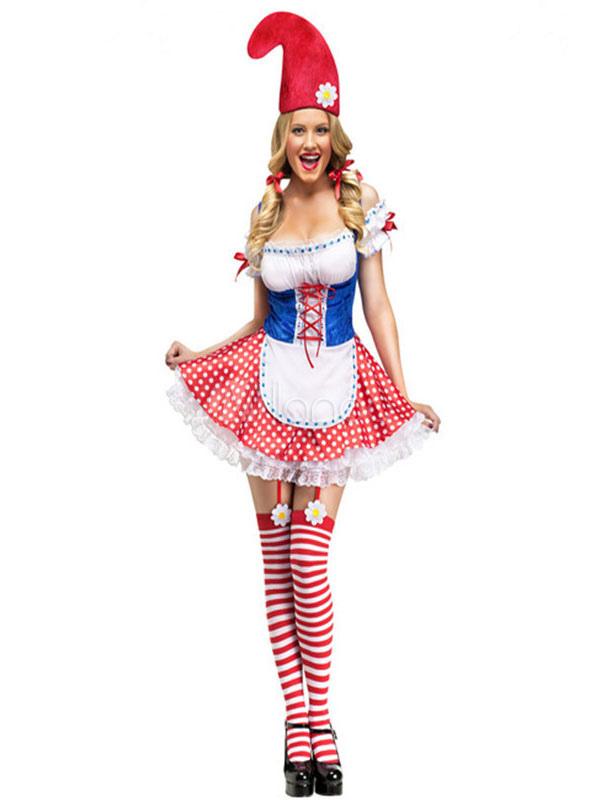 il più votato a buon mercato scarpe di separazione alta qualità Cameriera sexy Costume Carnevale donna abito corto rosso Clown Costume  vestito Carnevale