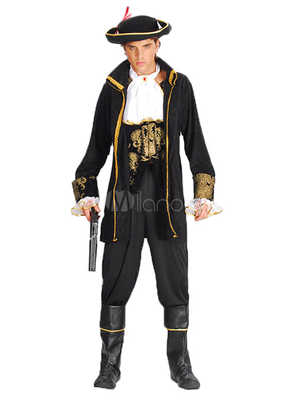 Buy Halloween Pirate Costume Men's Black Gold Captain Costume Outfit Halloween for $32.99 in Milanoo store