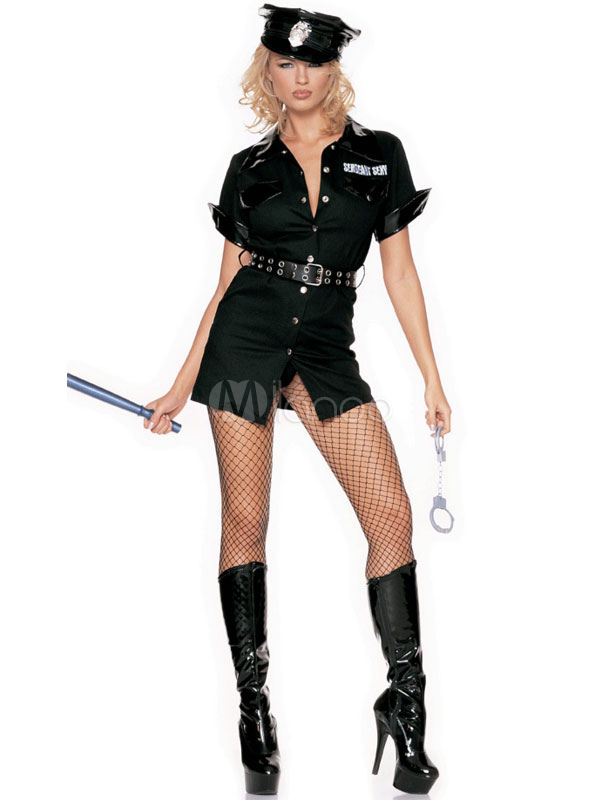 d8666d1aa Mulheres de polícia fantasia policial sexy fantasia de Halloween vestido  preto com faixa Halloween-No