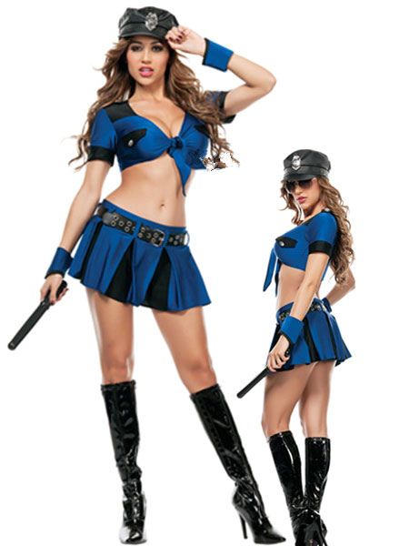 ad58fc184 Fantasia de policial sexy fantasia Halloween trajes azul polícia mulheres  Halloween-No.1