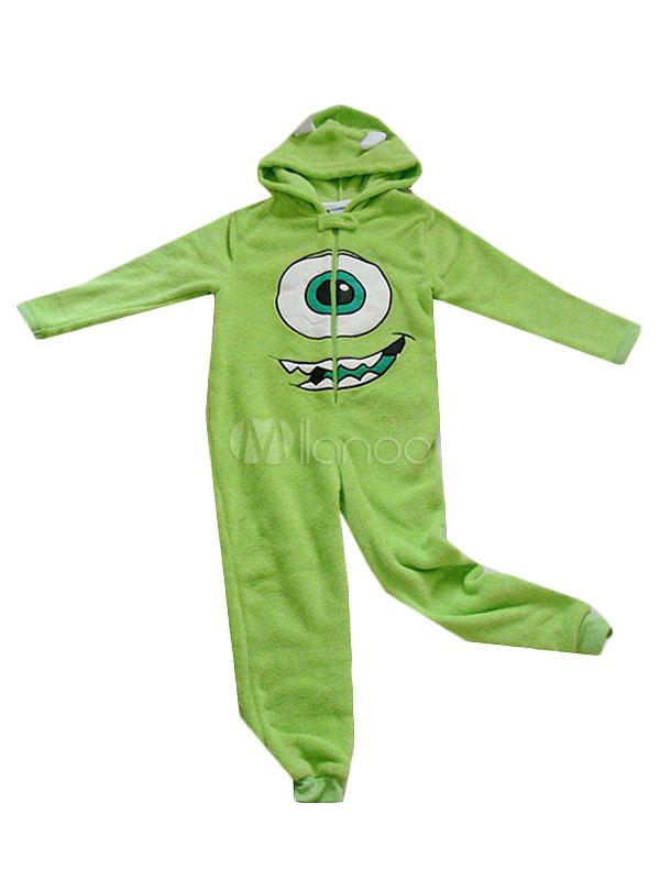 00047f509d7e Kigurumi Pajamas Monsters University Mike Onesie Green Flannel Costume For  Kids Halloween-No.1 ...