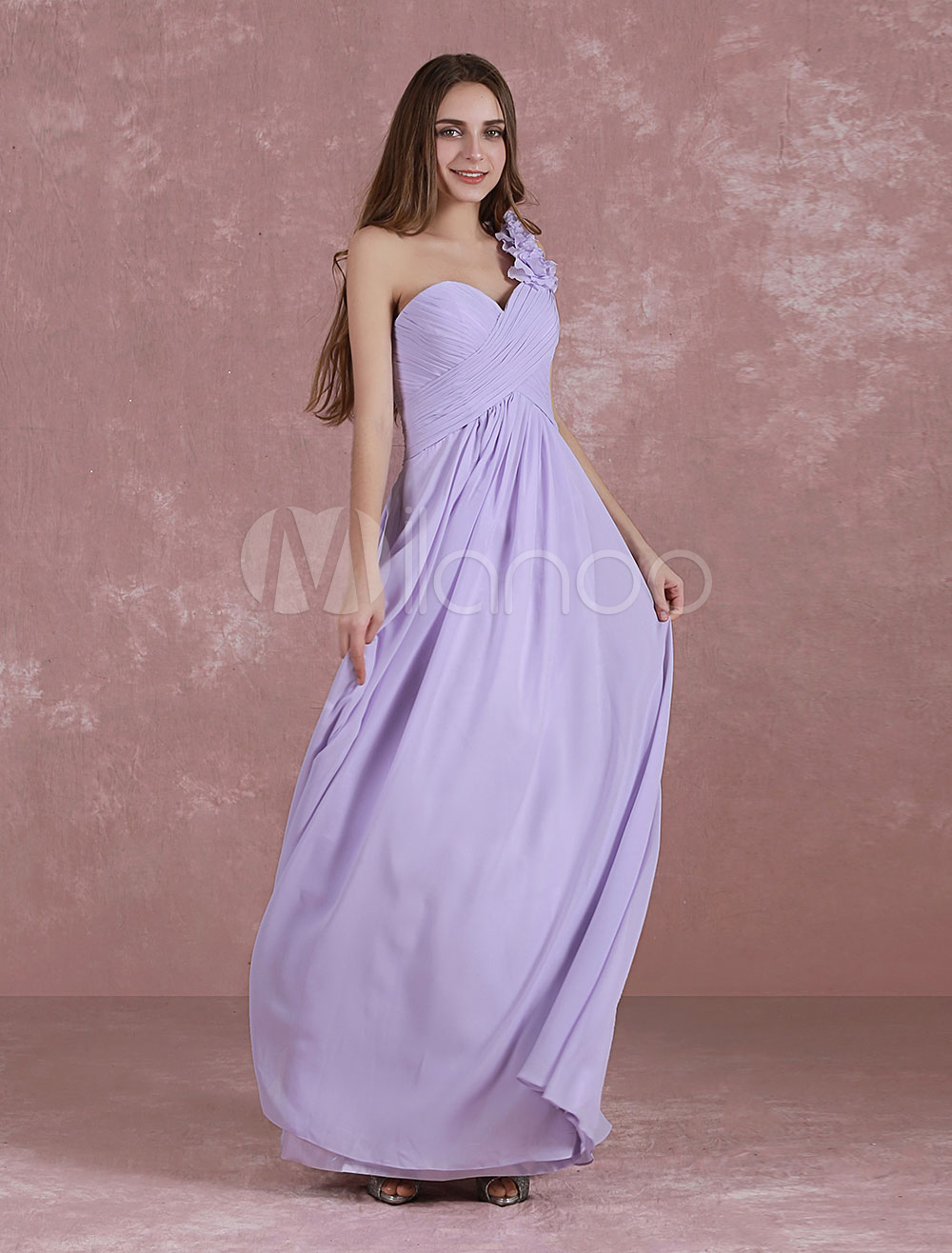 Long Bridesmaid Dress One Shoulder Sweetheart Homecoming Dress A Line Floor-Length Pleated Chiffon Wedding Party Dress With Flower