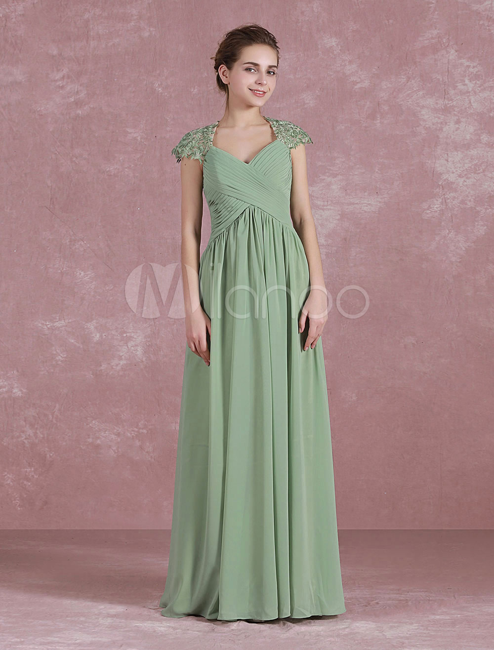 Chiffon Evening Dress Pleated Floor Length Party Dress Queen Anne Neck Backless Vintage Long Bridesmaid Dress
