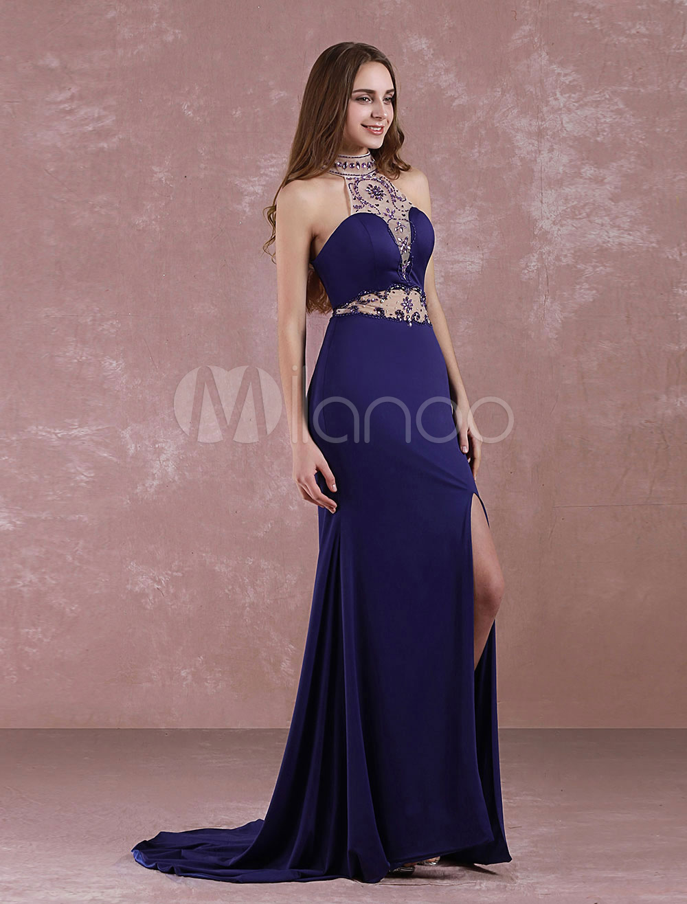 Mermaid Prom Dress Halter Long Evening Dress Backless Beaded Sweep Train Split Party Dress