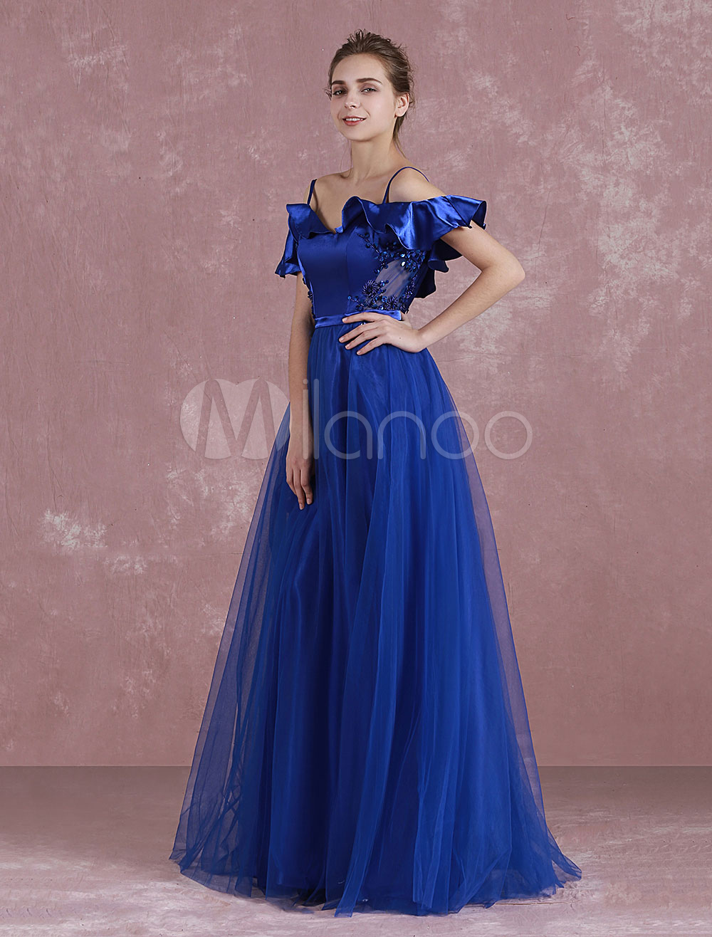 Buy Long Evening Dress Bohemian Strap Backless Party Dress A Line Royal Blue Tulle Floor Length Evening Gown With Ruffle Beading for $76.49 in Milanoo store