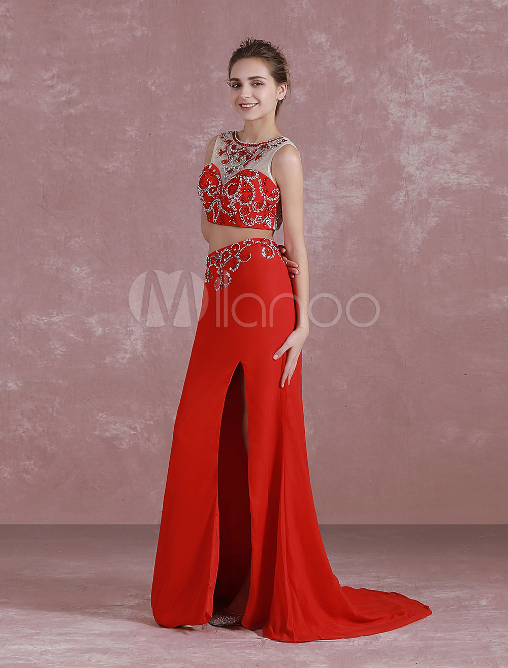 Buy Red Prom Dresses 2018 Long Two Piece Prom Dress Crop Top Mermaid Split Beading Satin Train Evening Dress for $180.89 in Milanoo store