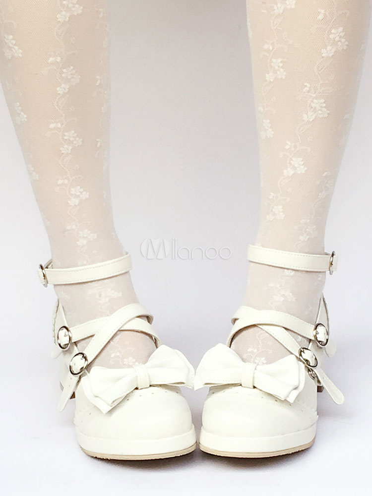 Sweet Lolita Shoes Ankle Strap Chunky Heel Lolita Pumps With Bow
