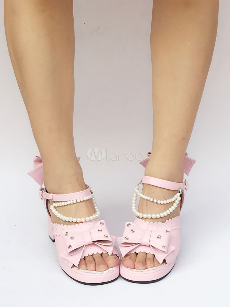 53077b6ea ... Pink Lolita Shoes Chunky Heel Ankle Strap Peep Toe Lolita Sandals With  Pearl Bow-No