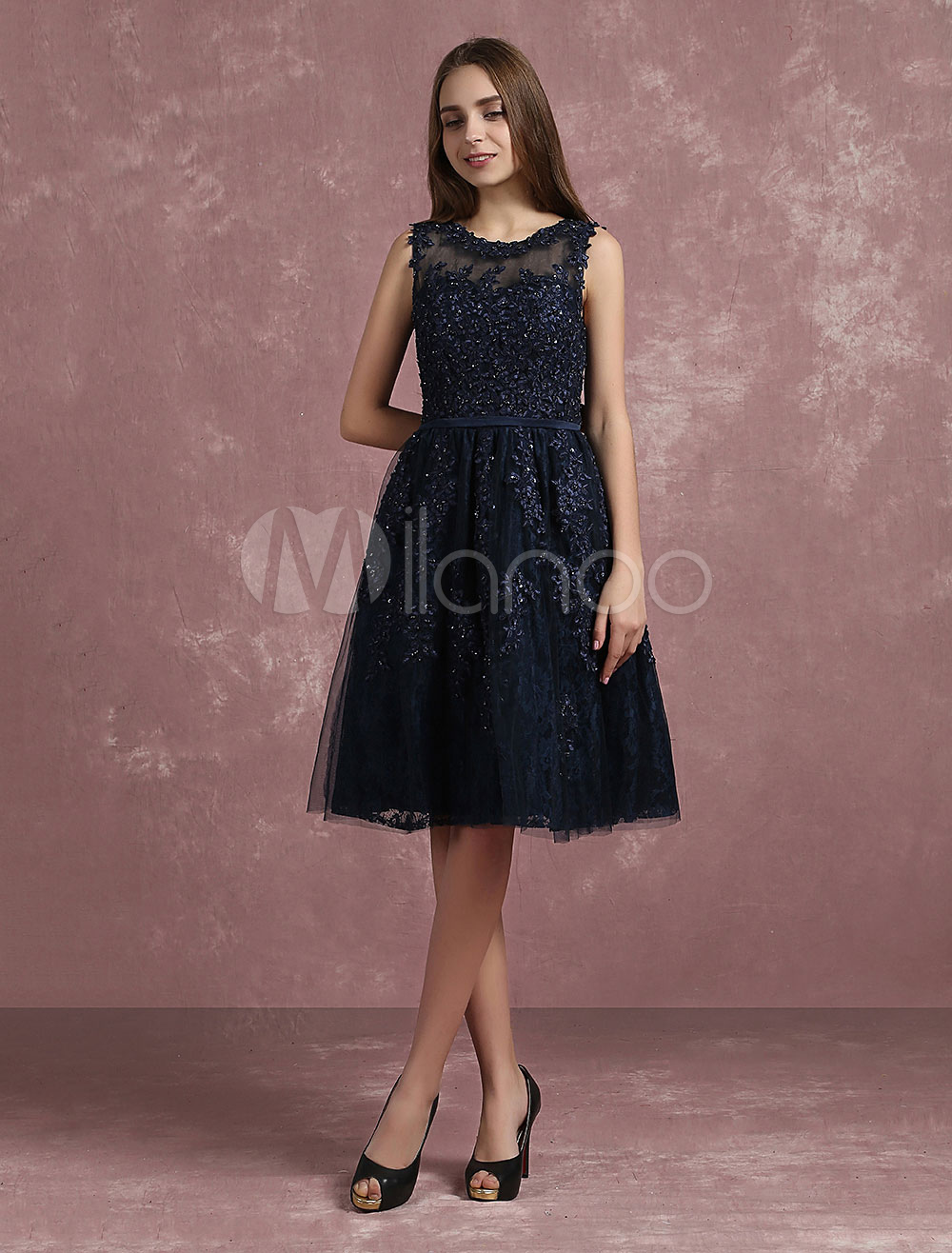 Buy Tulle Cocktail Dress Illusion Lace Applique Beaded Homecoming Dress Dark Navy Sleeveless A Line Knee Length Party Dress for $152.99 in Milanoo store