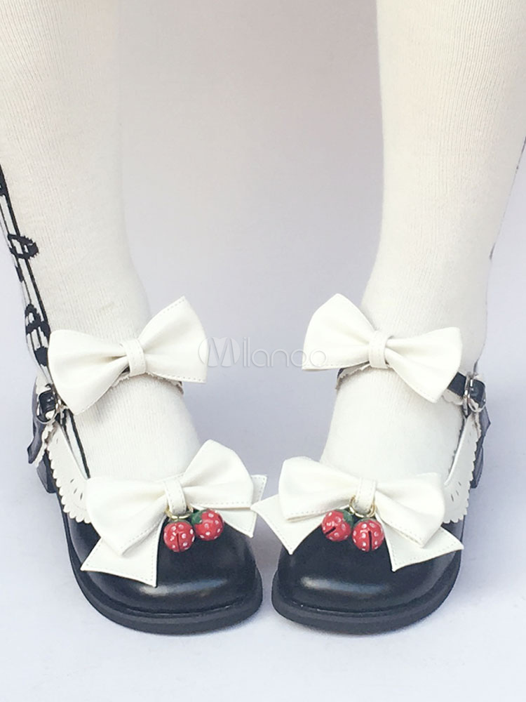 Buy Sweet Lolita Shoes Round Toe Bow Ankle Strap Lolita Pumps for $68.07 in Milanoo store