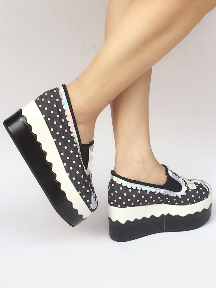 Zapatos de lolita de tela de puntera redonda con dibujo de animal negros JbAPTMNNt