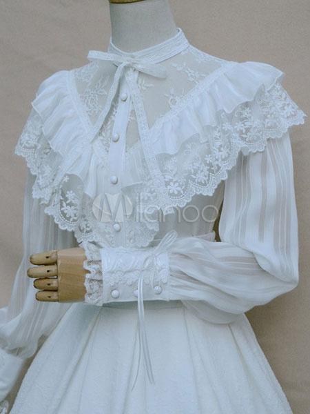 Sweet Lolita Blouse White Vintage Neverland Lace Ruffle Lolita Shirt