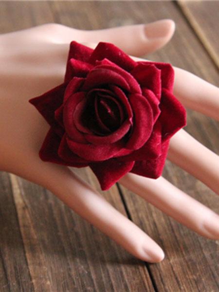 Gothic Lolita Rings Burgundy Silk Rose Lolita Rings