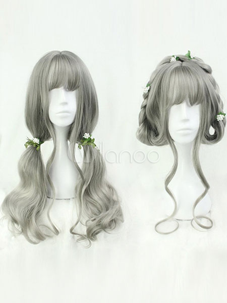Buy Sweet Lolita Wigs Grey Long Curly Heat Resistant Fiber Lolita Hair Wigs With Bang for $24.29 in Milanoo store