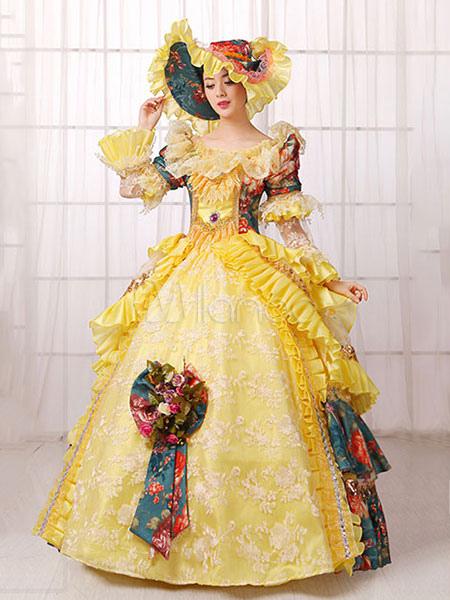 damen vintage kost m viktorianisches ballkleid gelb retro kleid mit hut halloween. Black Bedroom Furniture Sets. Home Design Ideas