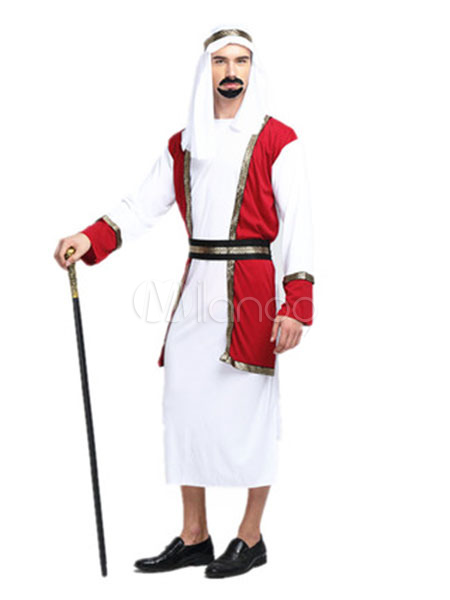 Arabian Night Costume Halloween Men's White Gown Outfit Asian Costume