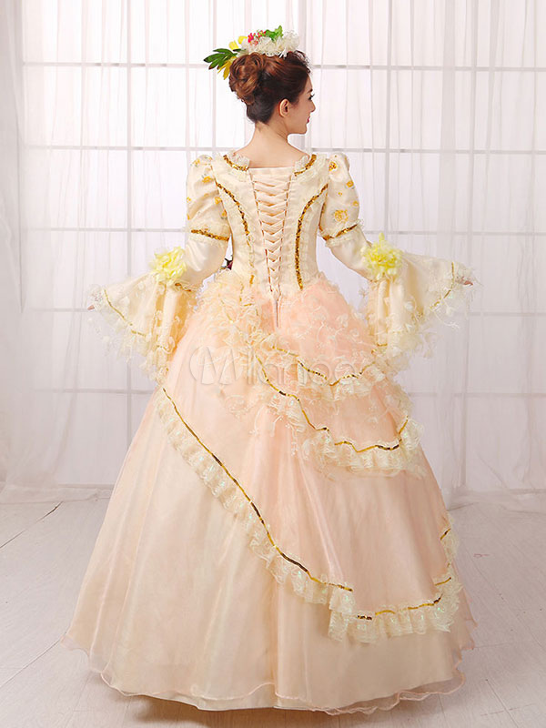 Women\'s Vintage Costume Victorian Royal Halloween Ball Gown Apricot ...
