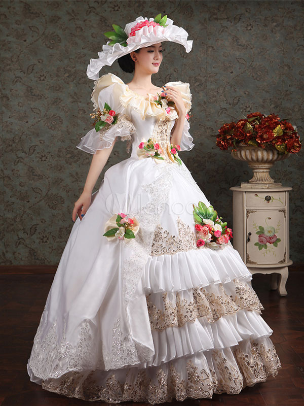 Women's Vintage Costume Victorian Royal Halloween Ball Gown White Flower Pageant Dress Halloween