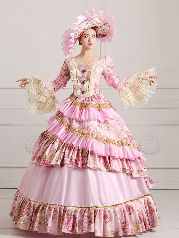 Traje Vintage victoriano real desfile rosa Vestido de las mujeres ...
