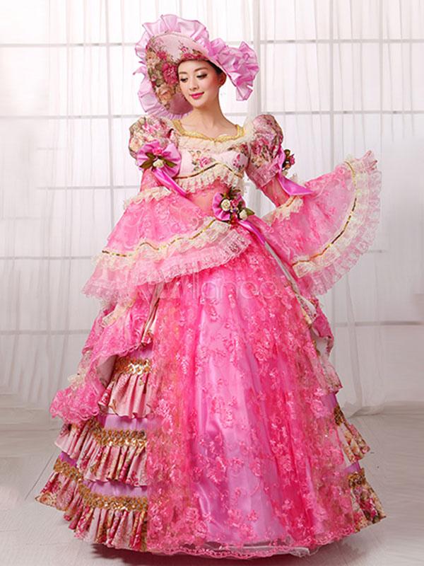 Traje de la época victoriana rosa Vestido de encaje de la mujer ...